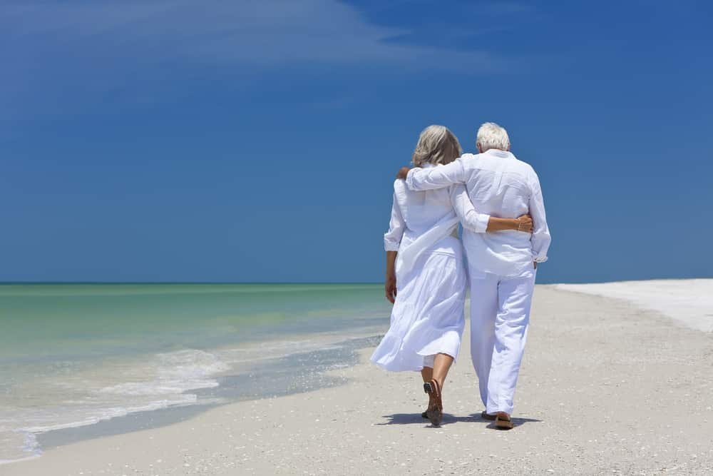 View from behind of senior couple, arms around each other, walking on beach